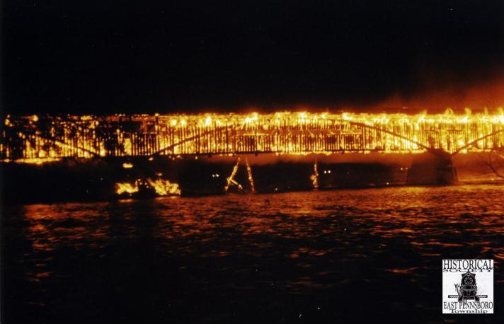 Oyster Mill Bridge on Fire